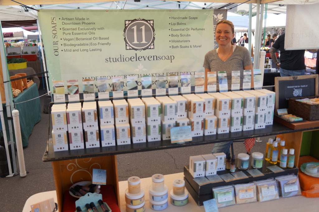 Kari Snodgrass at her Studio 11 stand at the Phoenix Public Market