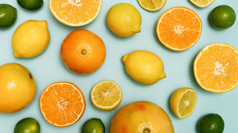 Citrus fruits sliced, lemons, oranges, tangerines and grapefruit.; Shutterstock ID 677547223
